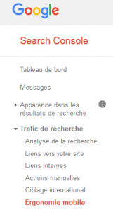 Ergonomie mobile de la search console de google
